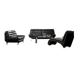 VIG Furniture - 2918 Black Bonded Leather Three Piece Sofa Set - The 2918 sofa set will add a modern touch to any decor while having you relax in comfort. This sofa set comes upholstered in a beautiful black bonded leather in the front where your body touches. Carefully chosen match material is used on the back and sides where contact is minimal. Skillfully chosen match material is used on the back and sides where contact is minimal. High density foam is placed within the cushions for added comfort. The sectional features a stylish but sublte roled design along the seating area. The sofa set includes one sofa, loveseat, and chair only.