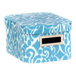 Turquoise Ikat Storage Box, Small - Box measures 10.25L x 7.5W x 5.5H in.