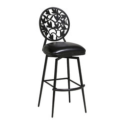 """Pastel Furniture - Pastel Furniture Brownsville 26 Inch Swivel Barstool in Black - The Brownsville swivel barstool is beautifully crafted in quality metal Phantom finish with sturdy legs and foot rest. This barstool has a simple yet elegant design that is perfect for any decor. The padded seat is upholstered in Ford Black offering comfort and style. Available in 26"""" counter height or 30"""" bar height."""