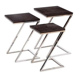 """Benzara - Colorful Metal Wood Nest Table S/3 24"""",23"""" - Colorful Metal Wood Nest Table Set of 3 24"""",23"""". It makes a perfect addition to living room settings. It comes with following dimensions 18"""" W x 16"""" D x 24"""" H."""