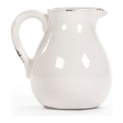 Zentique - Josephine Pitcher, Small - The Josephine Pitcher features a pulled handle with a rounded bottom in a white ceramic finish. For decorative purposes only.