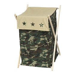 "Sweet Jojo Designs - Green Camouflage Hamper - The Green Camouflage Hamper by Sweet Jojo Designs will add a designers touch to any childs room. This childrens laundry clothes hamper has a wooden frame, mesh liner, and a fabric cover.The removable hamper body is secured to the wooden frame with corner loops and Velcro. The wooden stand folds flat for space-saving storage and the removable mesh liner is great for toting laundry.Dimensions: 15.5"" Length x 16"" Width x 26.5"" Height.If you like the Green Camouflage Hamper Hamper, dont forget to check out the other items in the collection."