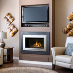 H4 Series Fireplace - H4 with Landscape Outer Surround (660LSV) and Painted Nickel Inner Bezel (661BSN)