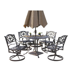 "Home Styles - Home Styles Biscayne 5PC 48"" Round Outdoor Dining Set in Black Finish - Home Styles - Patio Dining Sets - 5554325 - The five piece outdoor dining set is a dominating set that will draw every eye to the intricate detailed metal work._� Constructed of solid cast aluminum it is more substantial than hollow aluminum or tubular outdoor furniture and is durable lasting year after year._� Need another incentive?_� The set is maintenance free!_� The table is designed to accommodate an outdoor umbrella and umbrella stand._�"
