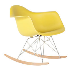 #N/A - The Mid Century Rocking Chair - Olive - The Mid Century Rocking Chair - Olive. The Mid-Century Rocking Chair is made from high stregth polypropylene with stainless steel base, Ash wood sleighs ensures use for years to come. This is a true classic chair that will compliment any room.