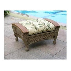Spice Island Wicker - Ottoman with Cushion (Cream) - Fabric: CreamThis shapely ottoman is the perfect companion to the Barbados collection of comfortable and enticing outdoor furniture.  Its all-weather wicker composition and teak accents match each chair perfectly, accompanied by your choice of matching weather-resistant fabric.  It�۪s time to pamper yourself.  Rest your feet and relax in the great outdoors with this accent ottoman.  Natural or brown wash finish will blend with any setting. * All Weather Wicker - Woven Vinyl over Aluminum frame. Stone Finish. Includes Cushion. 31 in. W x 21 in. D x 17 in. H