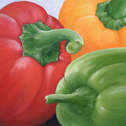 """Tri-Colored Bell Peppers (Original) by Laurie Schena - This is an original oil painting by artist Laurie Schena, on stretched gallery wrap canvas 24 x 30 x 3/4"""" deep, back stapled, no frame needed. Ready to hang, contemporary oil painting features bright red, orange and green peppers to accent your wall in the kitchen, living room, in a restaurant or cafe. Anyone who loves to cook or is a chef will love to own this piece of art. Great gift idea for a home kitchen, restaurant art, or anyone who loves to cook."""