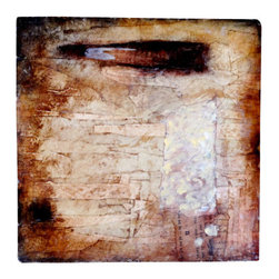 Mixed Media Wall Abstract Art In Encaustic Wax - This art work is a combination of vintage papers, acrylic paint, encaustic wax(which creates
