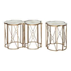 Aidan Gray - Aidan Gray Marlene Tri Coffee Table F237 SET - Vintage iron and mirrored glass coffee table in gold leaf finish.
