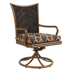 Lexington - Tommy Bahama Island Estate Lanai Swivel Rocker Dining Chair - The cushion seat is attached to the frame with two Velcro closures ensuring they stay put when moving in and out of the swivel chair to retrieve the next course off the grill or additional beverages for your guests.