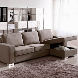 Fabric Sectional Sofa Sleeper with Storage - The sectional is composed of 2 pieces, which may be configured as sectional or spacious bed. It comes in left side or right side chaise option. Also the sectional has a storage undernath for bedding and other things. Upholstered in fabric.