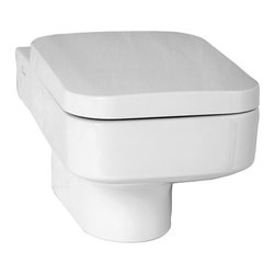 Vitra - Upscale Square White Ceramic Wall-Mounted Toilet with Seat - Contemporary white ceramic wall hung toilet with included seat. Attractive wall mounted bathroom toilet and seat is perfect for commercial or residential use. Requires Geberit concealed tank and carrier (ref. 111.335.00.5) and Geberit white or chrome sampa flush plate (ref. 115. 770.11.5, ref. 115.770.21.5). Ceramic wall hung toilet with seat. Actuator and tank must be purchased separately. Commercial or residential. Water-saving. Requires Geberit tank and carrier, samba flush plate. Made from ceramic in a white finish. Toilet seat is not soft closing. From Vitra's Water Jeweled collection. Made in Turkey.