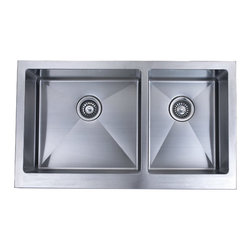 "Ariel - 36 Inch Stainless Steel Flat Front Farm Apron 60/40 Double Bowl Kitchen Sink - 60/40 double bowl apron sinks are built to last in the busiest kitchens. Exterior Dimensions 36"" x 20"". Left Bowl Interior 19"" x 17"". Right Bowl Interior 13"" x 17"". Depth 9-7/8""."