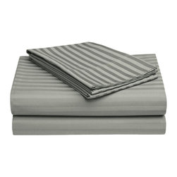 650 Thread Count Egyptian Cotton Full Gray OVERSIZED Stripe Sheet Set - Want the feel of a Luxury Hotel in your bedroom?  This 100% Egyptian Cotton Sheet Set brings the unique feel of a high-quality luxurious sheets to your bedroom.  Feel like a Queen or King nestled in the most luxurious bed linens available.  Breathable and Durable, these 650 Thread Count Sheets are made to last forever.  Flat Sheet and Pillowcases feature a tuxedo pleated hem to add an elegant look to any decor. Set includes One Flat Sheet 86x96, One Fitted Sheet 54x75, and Two Pillowcases 21x32 each.