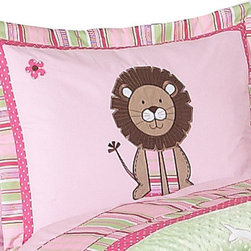 Sweet Jojo Designs - Jungle Friends Pillow Sham - The Jungle Friends standard pillow sham is created exclusively to coordinate with the Sweet Jojo Designs matching bedding set. This pillow sham is a quick and easy way to complete the look and theme in your child's bedroom. Machine washable. Fits all standard sized pillows. Dimensions: 20in. x 26in.