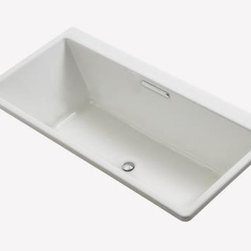 "Kohler - Kohler K-817-0 White Reve 66"" Drop In Soaking Bath Tub with Center - Tub Features:Kohler s cast iron components carry a limited lifetime warrantyTub is constructed from Enameled Cast Iron combining strength with durabilityComfort height design - provides a lower wall to step over when entering the bath, while maintaining the comfortable soaking depth of standard tubsRelax in a bath crafted with strong geometric lines designed for ease of useInstalls in a Under-mount or Drop-In configurationTub comes standard with molded lumbar support, furthering the user s comfortA textured slip-resistant bottom takes the worry out of slipping and sliding as you move about the tubTub is equipped with an overflow assembly - permitting the user to enjoy a deep soak without worrying about spillageProduct Meets or Exceeds the Following Codes and Standards: ASME, ASTMPair this bath with other products from the Reve Collection for a coordinated elegant look in the bathroomProduct Technologies and Benefits:Enameled Cast-Iron Material - Kohler Enameled Cast-Iron combines the strength, durability, and insulation benefits of cast-iron with the scratch, chip, and burn resistance of a baked, powder coat finish and comes with an exceptional Lifetime Limited Warranty. These materials combined give the sink or tub the strength to last a lifetime of use. Another benefit is that Kohler Enameled Cast-Iron is available in a wide variety of specialty colors to truly customize your home.Tub Specifications:Overall Height: 19-1/16"" (measured from the top of tub rim to the bottom of basin)Overall Width: 31-1/2"" (measured from back most to front most point on outer rim)Overall Length: 66-15/16"" (measured from left most to right most point on outer rim)Basin Width (Bottom): 22"" (back to front measurement of the bottom of basin walls)"