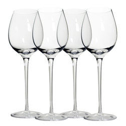 Martinka Crystalware & Lifestyle - Classic Long Stem Wine Glasses, Red Wine (Set of 4) - Elegant yet simple these extra tall red wine glasses are a must-have for wine lovers. Handmade from ultra lightweight crystal, each piece has a beautiful long stem and 11 inch form. Long stem red wine glasses come in a set of 4 and hold up to 16 oz of your favorite wine.
