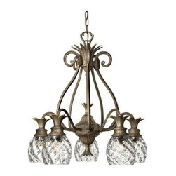 Hinkley - Plantation Pearl Bronze Five-Light Chandelier - - A Hinckley classic  the ornate Plantation collection features exceptional pineapple shaped  clear optic glass that makes a noble statement. The Burnished Brass  Pearl Bronze and Polished Antique Nickel finishes have matching candle sleeves and elaborate  decorative cast detailing.  - Welcome people to your home with this five-light chandelier which utilizes a stylized pineapple shape, the traditional symbol of hospitality. The stunning pearl bronze finish is enhanced with hand-blown clear optic glass. It includes 6-Foot of wire and 5-Foot of chain. Hinkley - 4885PZ