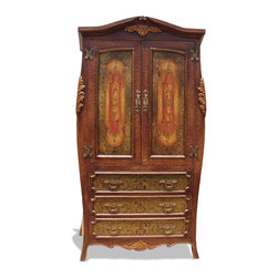 Bombar Armoire, Fresco Brown Crackle with Red and Scrolls - Bombar Armoire, Fresco Brown Crackle with Red and Scrolls