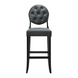 Modway - Modway EEI-816 Button Bar Stool in Black - Create your universe with an elevated opaque version of the popular Casper Chair. While transparency has its place, the opacity of the Buttoned Casper Bar Stool delivers spatial distinction. With its padded black vinyl seat and back, turn your bar or kitchen into an event horizon of outwardly emitted light and joy.
