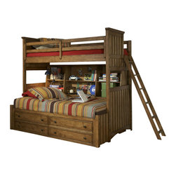 Legacy Classic Kids - Legacy Classic Kids Timber Lodge Twin over Twin Bunk Bed with Trundle/ Bedside - Legacy Classic Kids Timber Lodge Twin over Twin Bunk Bed with Trundle and Bedside Storage 2961-8507K