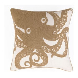 Peking Handicrafts - Beach Octopus Embroidered Pillow - Beautifully done neutral pillows for the beach! Embroidered khaki-tan large octopus on a 18 x 18 coastal 100% cotton canvas sealife pillow, with rope-like edge trim. Down filled, zippered enclosure.