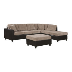 Coaster - Coaster Henri L-Shaped Sectional with Reversible Chaise in Beige - Coaster - Sectionals - 503015 - This casual contemporary sectional offers a plush two-tone look for your living room or family room. Spacious seating allows comfort for the whole family with soft tufted cushion upholstered seats two throw pillows and a contrasting base in rich dark brown vinyl faux leather. With just a few simple steps the chaise can easily be moved to either side of the sofa allowing you to create a configuration that works for your space and meets your needs. Complete your home ensemble with this comfortable sectional sofa.