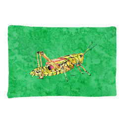 Caroline's Treasures - Grasshopper on Green Fabric Standard Pillowcase Moisture Wicking Material - Standard White on back with artwork on the front of the pillowcase, 20.5 in w x 30 in. Nice jersy knit Moisture wicking material that wicks the moisture away from the head like a sports fabric (similar to Nike or Under Armour), breathable performance fabric makes for a nice sleeping experience and shows quality. Wash cold and dry medium. Fabric even gets softer as you wash it. No ironing required.