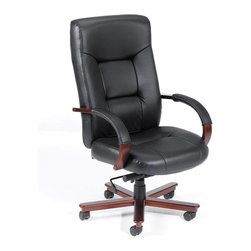 """Boss - Executive Leather High Back Chair With Mahogany Finished Wood - Beautifully upholstered in Black Italian Leather. Matching hard wood arms with removable pads. Passive ergonomic seating with built in lumbar support. Upright locking positions. Pneumatic gas lift seat height adjustment. Adjustable tilt tension control. Mahogany wood finish on 27"""" base. Hooded double wheel casters."""