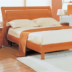 Global Furniture - Wood Sleigh Full Bed in Cherry Finish - Includes headboard, frame, footboard and rail. Mattress, pillows and nightstand not included. Made of MDF and paper veneer. 86 in. L x 61 in. W x 41 in. H