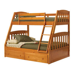 Woodcrest - Chelsea Home Twin Over Full Mission Bunk Bed with Underbed Storage in Honey - Providing home elegance in upholstery products such as recliners, stationary upholstery, leather, and accent furniture including chairs, chaises, and benches is the most important part of Chelsea Home Furniture's operations. Bringing high quality, classic and traditional designs that remain fresh for generations to customers' homes is no burden, but a love for hospitality and home beauty. The majority of Chelsea Home Furniture's products are made in the USA, while all are sought after throughout the industry and will remain a staple in home furnishings.