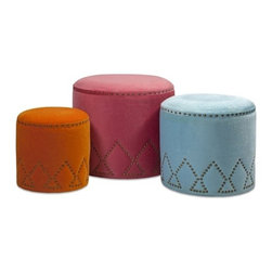 "IMAX - Mickie Ottomans - Set of 3 - This set of three boldly colored ottomans add fun to any room. In small orange, medium blue and large pink faux fur, these look great in any family or bedroom. Item Dimensions: (13-15-17""h x 12.25-15.5-19.25""w x 12.25-15.5-19.25"")"