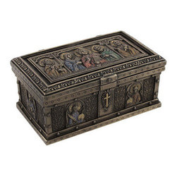 Bronzed Catholic Saints Altar Trinket Box - This divinely inspired trinket box commemorates God's most faithful servants. In the shape of an altar, the box depicts the Catholic Church's most blessed saints in exquisite detail with hand painted color accents. The bronzed finish of the piece accentuates its intricately patterned and embellished design. It is masterfully constructed from cold cast resin and measures 5 inches long, 3 inches wide, and 2 inches tall. The felted bottom protects delicate surfaces from scratches. This sanctified trinket box would make a lovely home accent and a great place to store a rosary or any other sacred treasures.