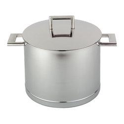 Demeyere - John Pawson Stockpot with Lid, 8.5 Quart - Designed by famous  British architect, John Pawson, this cookware collection is for use on all types of heating sources, including gas, electric, and induction. Demeyere uses the revolutionary patented InductoSeal technology, which uses seven different alloys in combination with stainless steel and copper, encapsulated into the base of each pan. finished thick layer of 18/10 stainless steel. This unique technology guarantees an optimal heat distribution through the bottom of thr pan. It provides a heat-conducting surface that is 33% larger than a traditional pan surface. Demeyere also uses Silvinox surface treatment to extract impurities and create a lifelong silver white finish. Piece comes with casted and welded stainless steel handles and rolled pouring edges for easy transfer of liquids. No difficult to clean screws or rivets. Dishwasher safe. 30-year warranty. Made in Belgium.