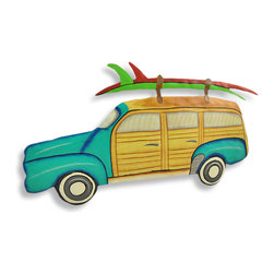 Zeckos - Brightly Painted Surf Wagon Wall Hanging Woodie - This beautiful metal wall hanging features a teal 'Woodie' style surf wagon. It measures 10 inches tall, 19 inches wide and about an inch thick. It'll add a splash of color to any room, and makes a great gift for beach lovers.