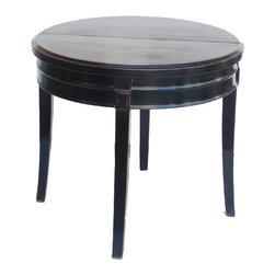 Golden Lotus - Black Lacquer Round Half Pedestal Breakfast Table - This black fusion round table mixes the element of oriental and modern to create a stylish furniture for the modern home. It is a simple elegant piece for the entrance as pedestal table or it can be a breakfast table, or a side table against the wall.