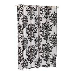 "EZ-ON ""Beacon Hill"" Polyester Shower Curtain in Black on White - ""Ez On"" Fabric shower curtain with built in shower curtain hooks:  size 70"" wide x 72"" long; pattern name ""Beacon Hill""; color white and black. Give your bathroom renewed vitality without any added hassle with our vibrant ""Beacon Hill"" EZ-ON Shower Curtain (standard size 70'' wide x 75'' long). Using patented Hookless technology, our EZ-ON curtains come with built-in flat top rings that simply snap on to your existing shower curtain rod--pesky hooks no longer required. Additionally, this 100% polyester curtain resists water and is machine washable. Here in Black on a White Background, our EZ-ON ""Beacon Hill"" curtain is also available in chocolate on spa blue and sage on ivory.    Machine wash in warm water, tumble dry, low, light iron as needed"