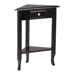 OSP Designs - Merlot End Table - Fill every corner of your home with elegant design with the Merlot Collection Corner Table by Home Star. The rich merlot finish of this solid wood table looks at home in any classic environment, and the single drawer provides storage for small items. The slight kick at the bottom of the solid wood post legs provides a contemporary twist on a classic and beautiful design. On its own or paired with the other pieces in The Merlot Collection, the Merlot Corner Table will add style to your home. Features: -Unique shape that is perfect for corners.-Single drawer with round nickel pull.-Solid wood construction.-Merlot collection.-Collection: Merlot.-Distressed: No.Dimensions: -Overall dimensions: 28.75'' H x 23'' W x 12.5'' D.-Overall Product Weight: 18 lbs..