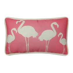 Flamingos 17X10 Pillow (Indoor/Outdoor) - 100% polyester cover and fill.  Suitable for use indoors or out.  Made in USA.  Spot Clean only