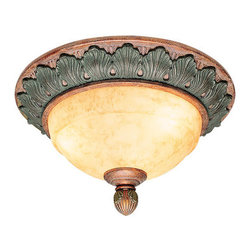 Livex Lighting - Livex Lighting 8243 2 Light 120W Flushmount Ceiling Light with Medium Bulb Base - 2 Light 120W Flushmount Ceiling Light with Medium Bulb Base and Art Alabaster Glass from Salerno SeriesProduct Features:
