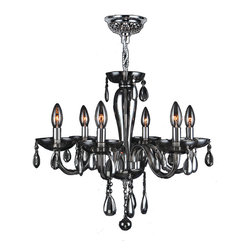 "Worldwide Lighting - Gatsby 6 Light Chrome Finish and Smoke Blown Glass Chandelier 22"" x 19"" Medium - This stunning 6-light Chandelier only uses the best quality material and workmanship ensuring a beautiful heirloom quality piece. Featuring a radiant chrome finish and blown glass in translucent smoke finish, this elegant chandelier is a work of art in its quality and beauty. Worldwide Lighting Corporation is a privately owned manufacturer of high quality crystal chandeliers, pendants, surface mounts, sconces and custom decorative lighting products for the residential, hospitality and commercial building markets. Our high quality crystals meet all standards of perfection, possessing lead oxide of 30% that is above industry standards and can be seen in prestigious homes, hotels, restaurants, casinos, and churches across the country. Our mission is to enhance your lighting needs with exceptional quality fixtures at a reasonable price."