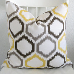 Decorative pillow Cover, Ikat By chicdecorpillows - This decorative pillow color has a fantastic ikat, honeycomb print in gray, brown and a nice pop of yellow!