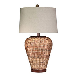 "Lamps Plus - Contemporary Aruba Woven Seagrass Table Lamp - This table lamp is beautifully woven with sea grass and topped with a linen lampshade. Modern in design this piece will delight visitors. A wonderful addition to home decor. Brown table lamp. Aruba finish. Seagrass and wood construction. Lampshade is linen. Maximum 100 watt or equivalent bulb (not included). Rotary switch. Lampshade is 17"" across the bottom and 12"" deep 16"" across the top and 10"" deep and 11"" high. Base is 7"" wide 6"" deep and 1"" high. 30"" high.   Brown table lamp.  Aruba finish.  Seagrass and wood construction.  Lampshade is linen.  Maximum 100 watt or equivalent bulb (not included).  Rotary switch.  Lampshade is 17"" across the bottom and 12"" deep 16"" across the top and 10"" deep and 11"" high.  Base is 7"" wide 6"" deep and 1"" high.  30"" high."