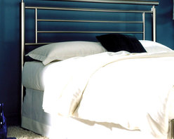 Leggett/Platt Fashion Bed - The Chloe Ultra-Sleek Iron Headboards (Queen) - Choose Size: QueenVery contemporary in its design this iron headboard is quite unexpected.  The tall height of the headboard gives the entire bed a very grand feel.  The sturdy rungs of the headboard also give the bed a very strong and bold look, which is appealing to most!  Pair this great iron headboard with the bedding of your choice to create a bedroom area that you absolutely love!  Easy to keep clean and guaranteed for ten years. * Brass, plated brass, painted metal and finished wood. 10 yr manufacturer limited warranty. Satin metal finish. Not Included - Linens and Mattress. Add universal bed frame (see accessories) to complete the bed!. Full: 56.75 in. W x 2 in. D x 48 in. H. Queen: 63.75 in. W x 2 in. D x 48 in. H. King: 79.75 in. W x 2 in. D x 48 in. H