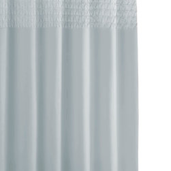 Kassatex - Smock Pleat Shower Curtain - Bathing beauties need not be showy. On the contrary, sometimes simple and sophisticated garners more attention. This elegant shower curtain, for example, uses a row of smocking to add interest without creating frightening shower scenes in your bathroom.