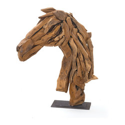 Wood Horse Head on Iron Stand - Transform the look of your interiors with the hip vintage wooden masterpiece of vintage chic home. This striking masterpiece from French country chic collection is designed with so fine detailing that it can win hearts with the very first glance itself. Manufactured with sturdy driftwood, this elegant piece of art is furnished with the natural finish. Fill the empty corners of your country chic home decor with this Wood Horse Head on Iron Stand to exhale a vintage look and feel. Flaunt your love towards wildlife and bring home the magic of wood. With its so natural and angelic look, you can make others to follow you for furnishing their homes with uniqueness.