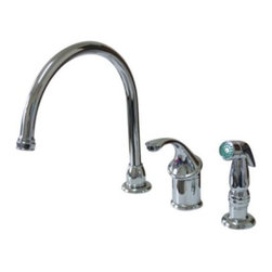 """Kingston Brass - Single Handle Kitchen Faucet With Non-Metallic Sprayer KB3811GLSP - This goose neck single handle faucet from the Georgian . Collection, features  a Non metallic side sprayer, spout is 8"""" long with a clearance of 6"""" Fabricated from solid brass for durability, operated by a single handle steel ball pattern valve for reliability and easy maintenance.. Manufacturer: Kingston Brass. Model: KB3811GLSP. UPC: 663370091810. Product Name: Single Handle Kitchen Faucet With Non-Metallic Sprayer. Collection / Series: Georgian. Finish: Polished Chrome. Theme: Classic. Material: Brass. Type: Faucet. Features: High Quality Brass Construction"""