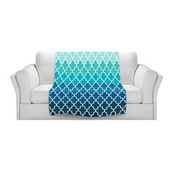 DiaNoche Designs - Fleece Throw Blanket by Organic Saturation - Aqua Ombre Quatrefoil - Original Artwork printed to an ultra soft fleece Blanket for a unique look and feel of your living room couch or bedroom space.  DiaNoche Designs uses images from artists all over the world to create Illuminated art, Canvas Art, Sheets, Pillows, Duvets, Blankets and many other items that you can print to.  Every purchase supports an artist!