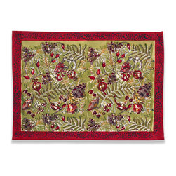 Origin Crafts - Winter garden wreath placemats, set of 6 (red/green) - Winter Garden Wreath Placemats, Set of 6 (Red/Green) The Winter Garden Wreath collection?s luxurious colors adorn a table with plenty and extravagance. Its sumptuous table linens, runners and napkins are perfect for the holidays and special occasions. Fine French table linens, hand-printed. Designed by Bruno Lamy exclusively for Couleur Nature. Suitable for everyday use. Easy care, machine washable, color fast. 100% cotton. Dimensions (in):15x18 By Couleur Nature - Couleur Nature is a wholesaler of fine, French-inspired Indian woodblock-printed and vintage linens. Couleur Nature?s linens and home accessories are versatile and can be used for formal or casual table settings year-round, as well as the every day. Their distinct but wide appeal makes them ideal for almost any occasion, decor or personal style. Usually ships in three business days. Our linens are handmade: slight variations are natural and make each piece unique.