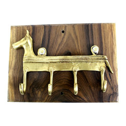MarktSq - Wooden Hook Rack (Horse Key Hook) - This custom made wooden hook rack is made of seasoned Teak wood and features an ethnic hook that is made in the Bastar region in India. The natural wooden grains coupled with this charming hook make this a one of a kind item.